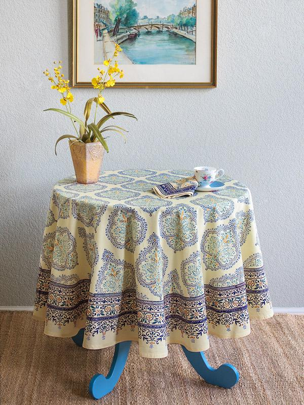 Yellow Blue Tablecloth, Elegant French Tablecloth, 70 Round Tablecloth, 90 Round  Tablecloths | Saffron Marigold