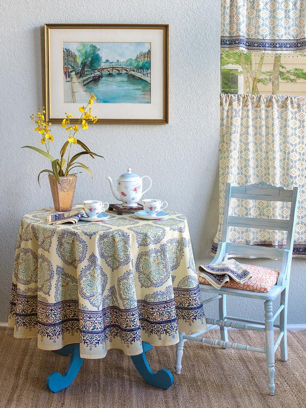 Yellow Blue Tablecloth Elegant French Tablecloth 70
