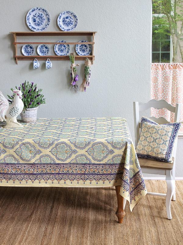 Yellow Tablecloth, French Tablecloth, Elegant Tablecloth, Tablecloth Table,  Cotton Tablecloths   Saffron Marigold