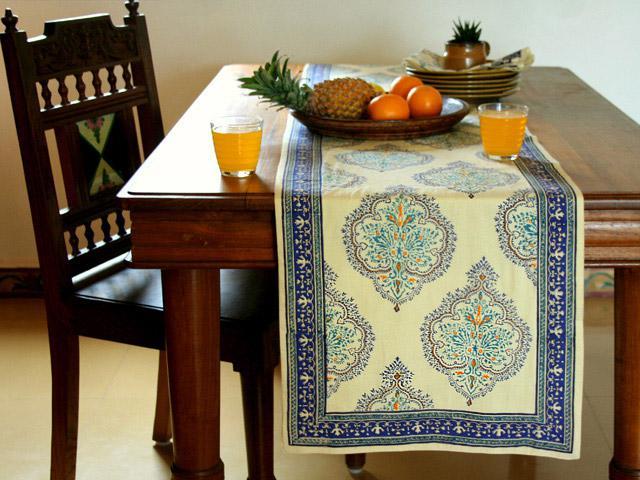 Blue table runner, Yellow table runner, Dining room table runner