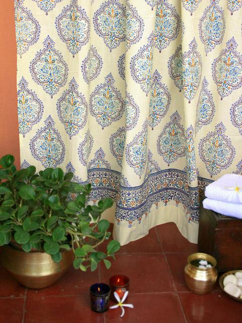 Blue Yellow Shower Curtains, French Shower Curtain, Bath Shower ...