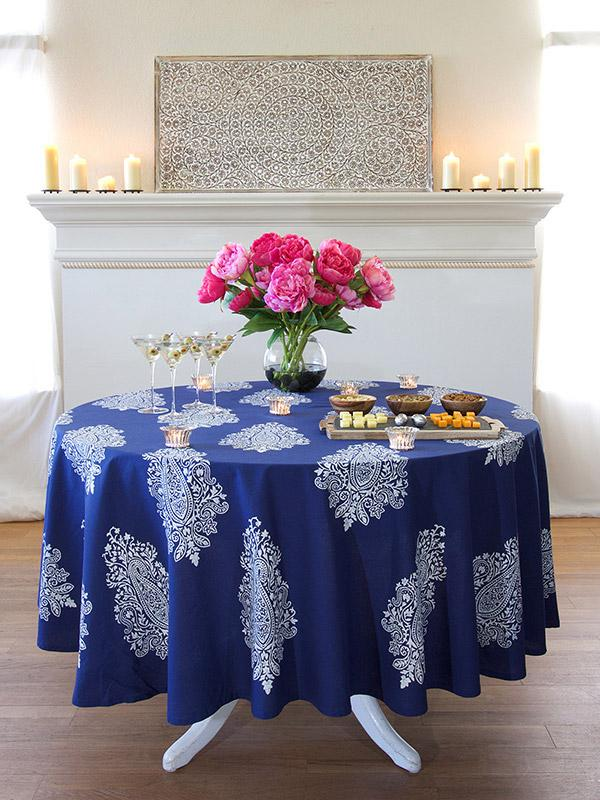 Navy Blue Round Tablecloth White Paisley Round Tablecloth