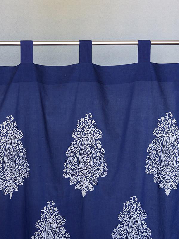 Navy Blue Sheer Curtain Panel White Paisley Curtain Panel