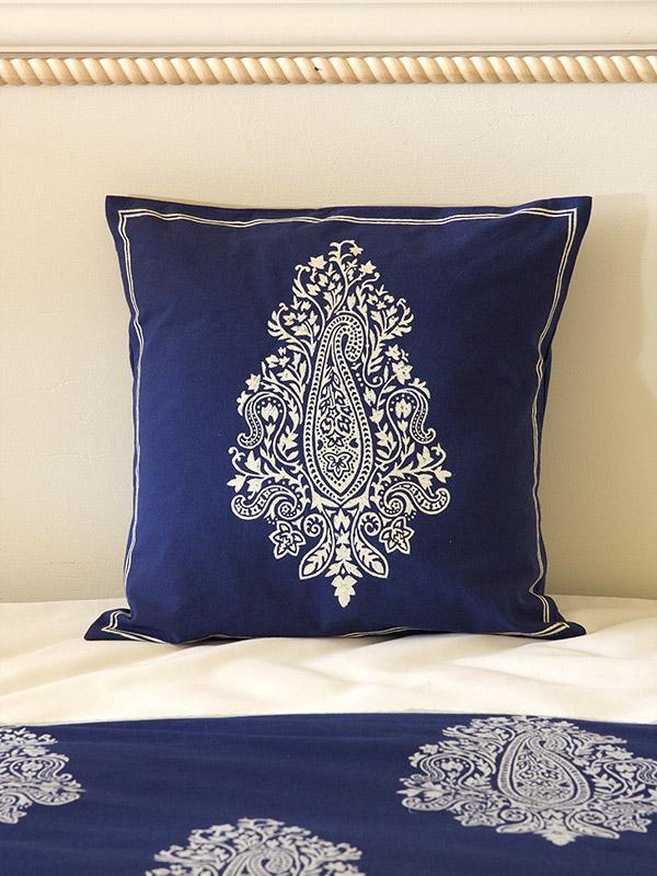 Indigo Blue Cushion Cover White Paisley Throw Cushion