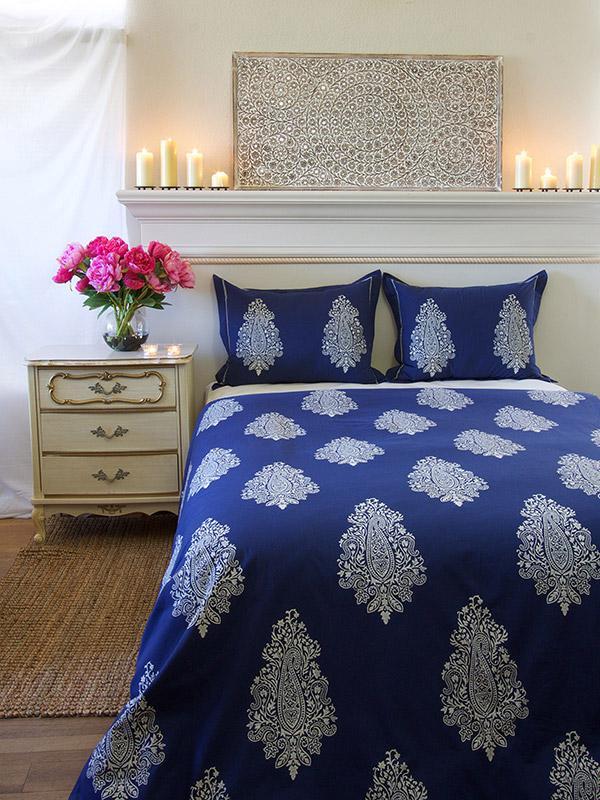 blue duvet cover modern paisley saffron marigold. Black Bedroom Furniture Sets. Home Design Ideas