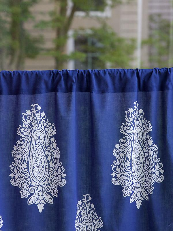 Navy Blue Kitchen Cafe Curtain White Paisley Saffron