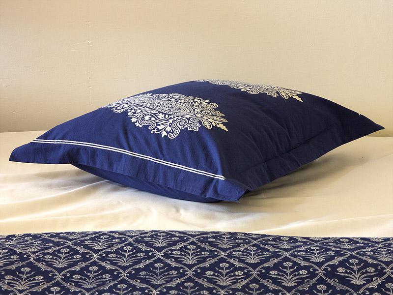 Navy Blue Pillow Sham White Paisley Pillow Sham Cover Co