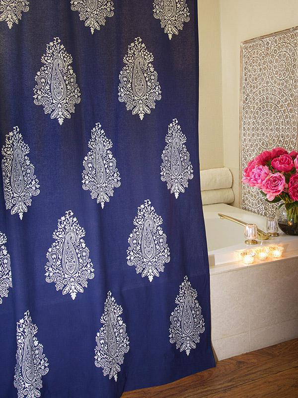 Navy Blue Shower Curtain White Paisley Print Modern