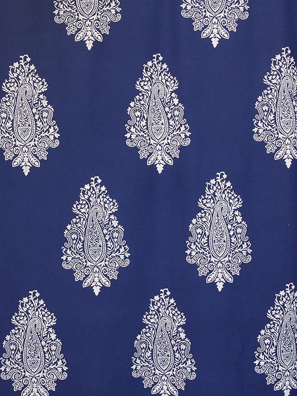 Navy Blue Fabric Swatch Paisley White Printed Saffron