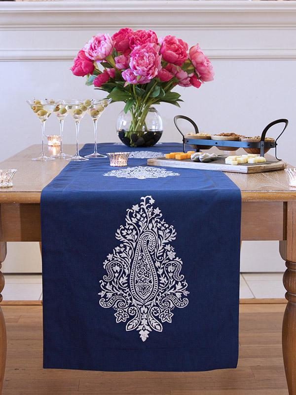 Navy Blue Table Runner White Paisley Table Runner 90 108