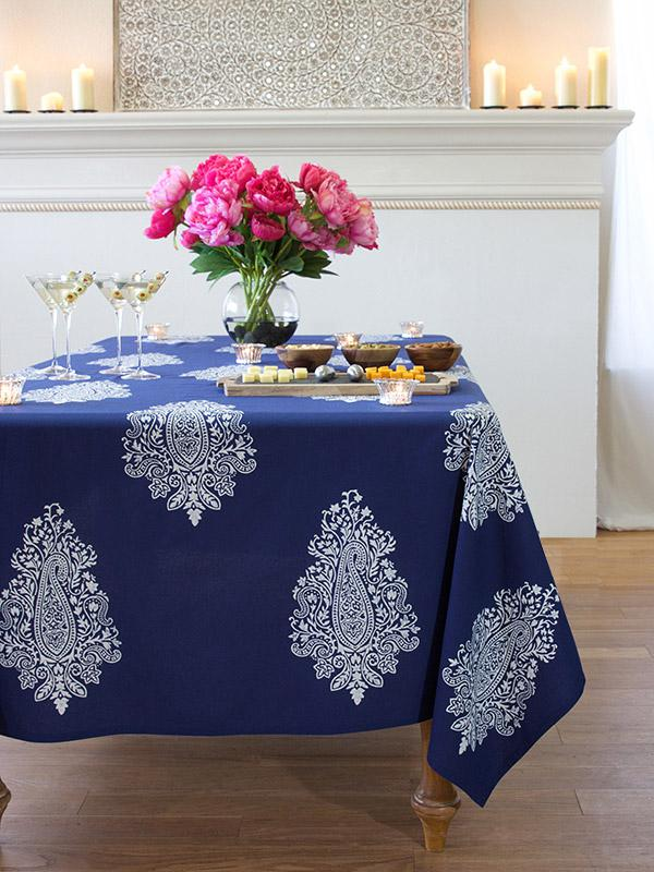 Navy Blue Tablecloth White Paisley Print Rectangular