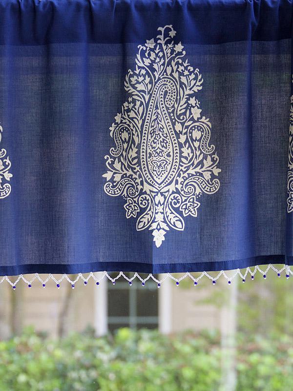 Well-known Navy blue beaded window valance, White paisley window treatment  LN76