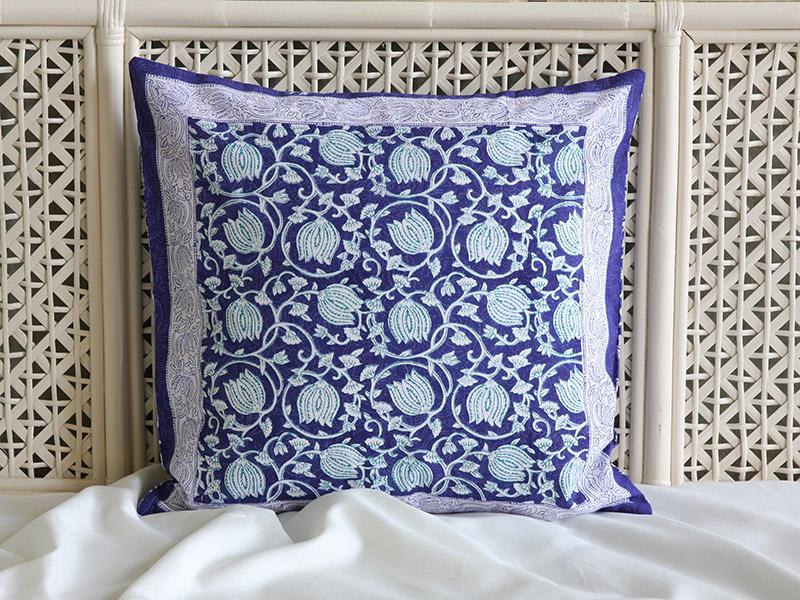 Decorative Blue Asian Floral Throw Pillow Cushion Sham
