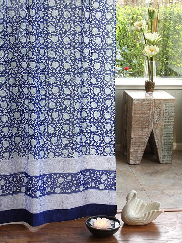 midnight lotus asian floral bohemian sheer curtain panel