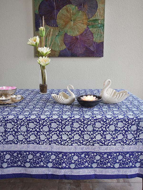 Navy Blue And White Tablecloth Floral Asian Saffron