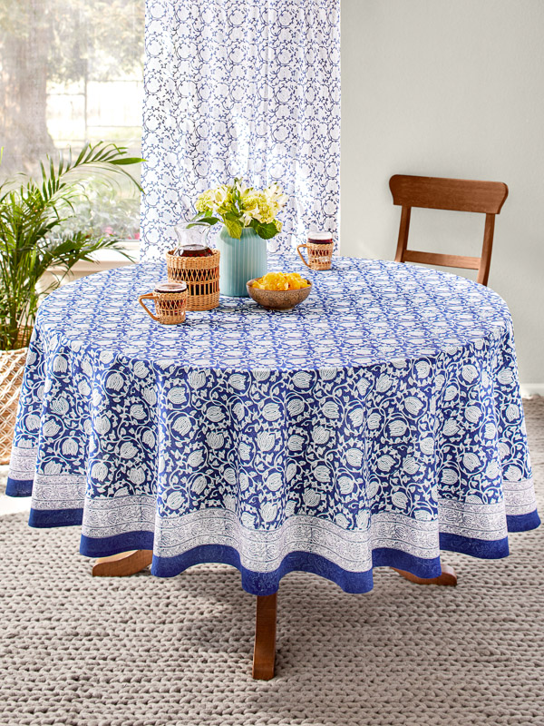 Fl Round Blue Asian Tablecloth, Round Table Cloths