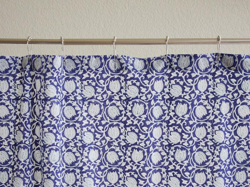 Midnight Lotus Unique Asian Floral Blue Fabric Shower Curtain