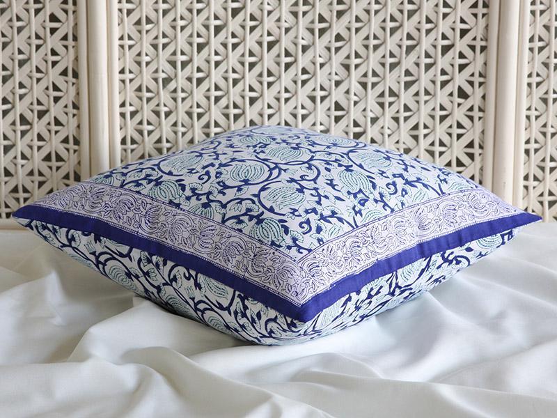 Decorative Blue Asian Floral Throw Pillow Cushion Sham