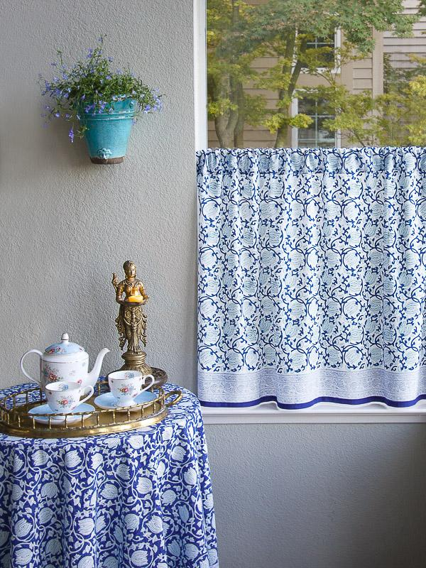 Asian Kitchen Curtains Floral Blue And White Saffron