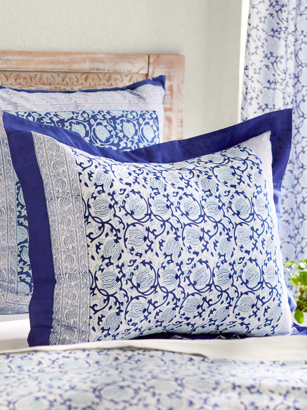blue floral pillowcases with tropical pattern