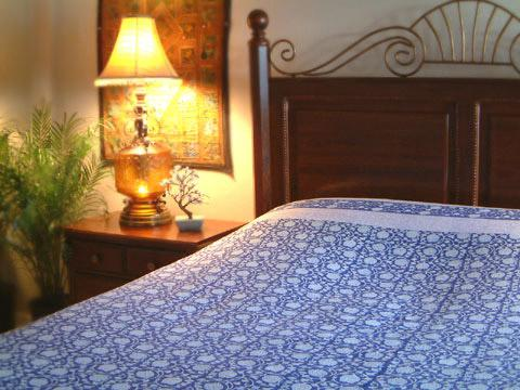 Midnight Lotus ~ Asian Blue Oriental Floral Queen Duvet Cover