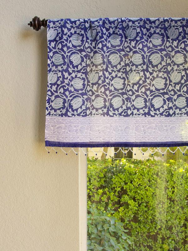 Famous Blue Floral Sheer Fabric Beaded Window Valance Kitchen Bathroom  TB64