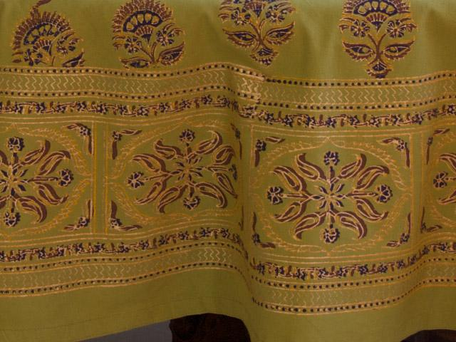 Green Tablecloth, Indian Tablecloth, Asian Tablecloth, 90 Round Tablecloth,  70 Round Tablecloths | Saffron Marigold