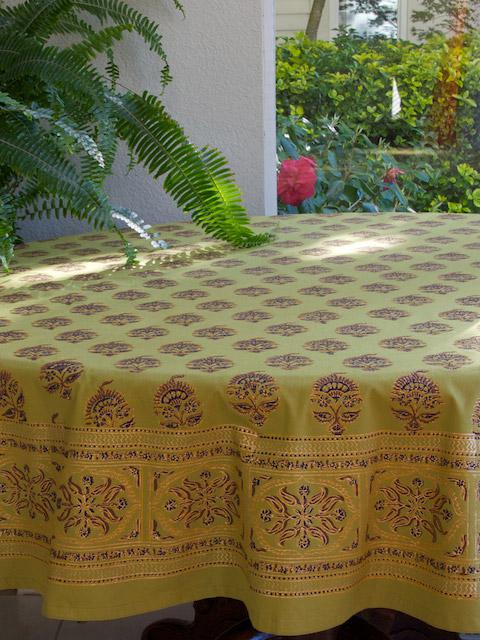 Memories Of Shalimar Green Gold Asian Indian Round Tablecloth