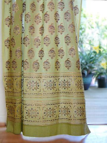 Asian curtain, Indian, Green | Saffron Marigold