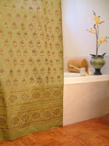Asian Shower Curtain Green Curtains Indian Floral