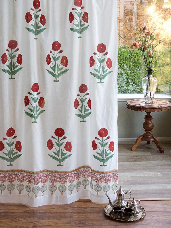 Floral White Curtain Panel Red Green Floral White Sheer