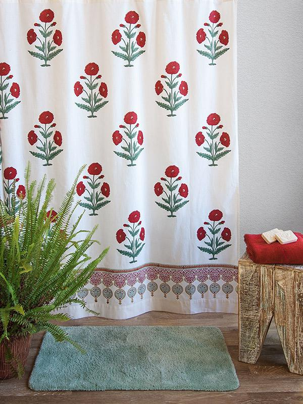 White Shower Curtain Red Green Floral Vintage