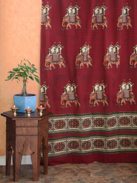 Burgundy Curtain Elephant