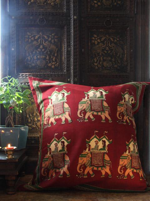 Maharaja ~ Beautiful Burgundy Royal Elephant Euro Pillow Sham