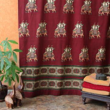 India shower curtain, India print shower curtains
