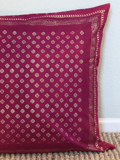 Lovely Red and Gold Euro, Ruby Red Euro cushion cover, Red Indian Style  QQ74