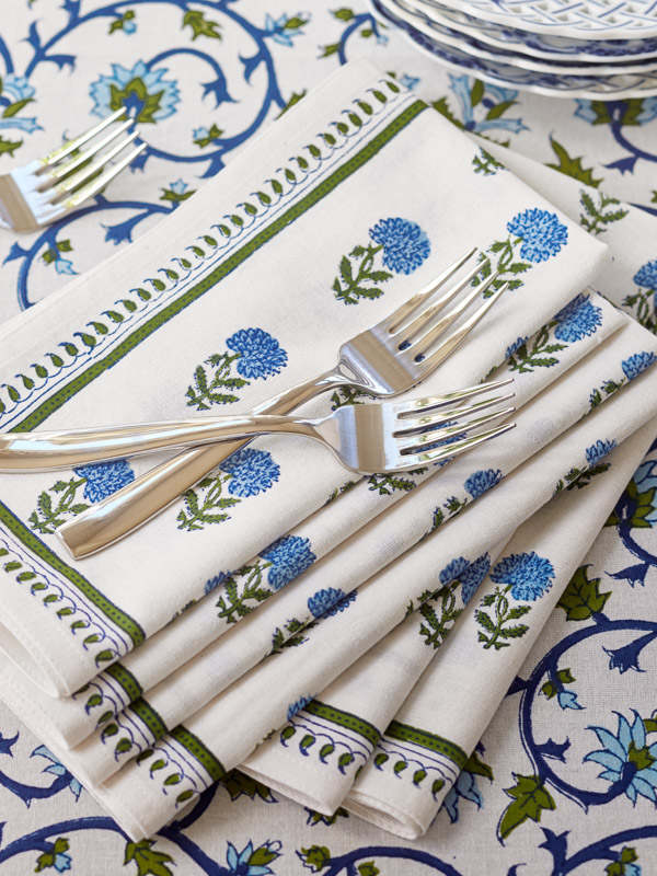 hand block printed cloth napkins with blue flower pattern