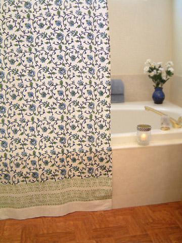Ordinaire Turquoise Shower Curtains, India Shower Curtains, Floral Shower Curtains,  Fabric Shower Curtains | Saffron Marigold