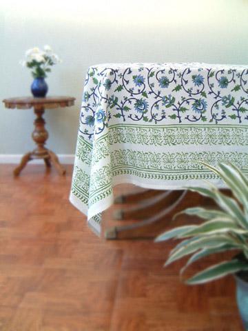 Perfect Moonlit Taj ~ Elegant Floral Turquoise Indian Tablecloth