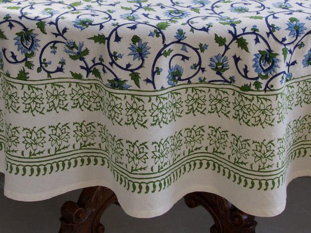 Moonlit Taj ~ Turquoise Elegant Floral Round Indian Tablecloth