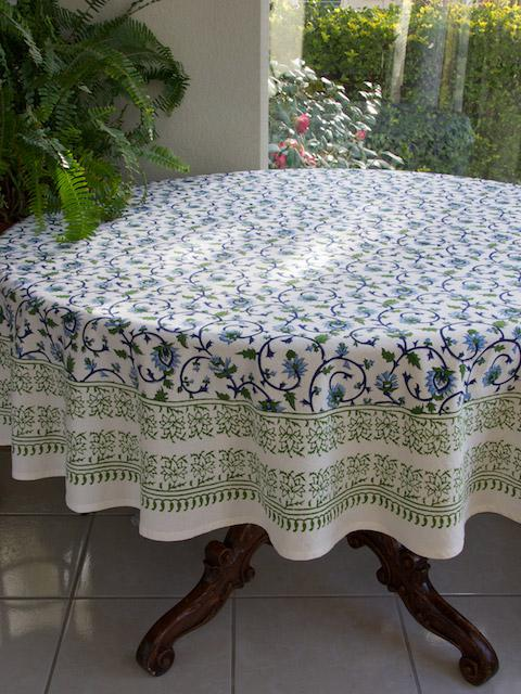 Floral Indian Tablecloth, Turquoise Tablecloth, 70 Round Tablecloth, 90  Round Tablecloths | Saffron Marigold