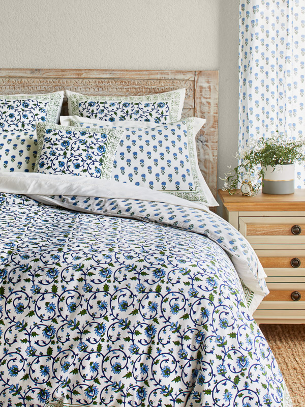Indian Duvet Cover Blue And Green Floral Saffron Marigold