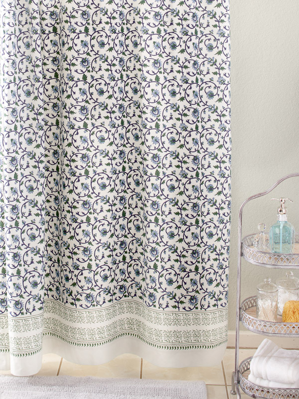 blue white and green botanical shower curtain fabric