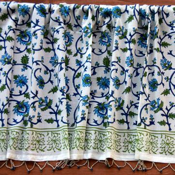 Summer White and Blue Cotton Valance