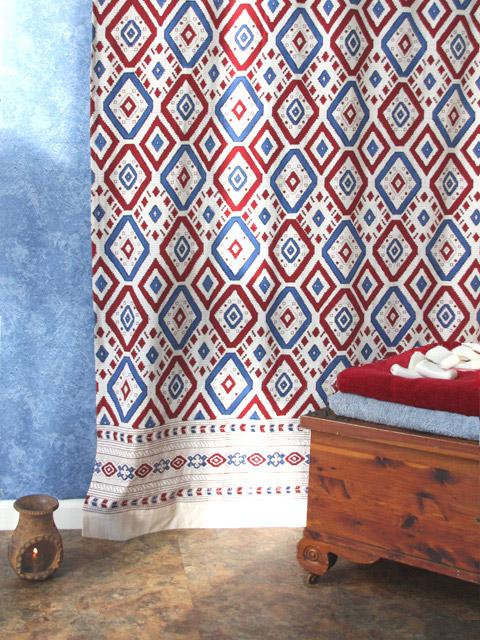 Southwestern Shower Curtain Red White Blue