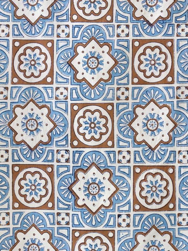 Ocean Breezes Blue And White Fabric Swatch With Moroccan Tiles