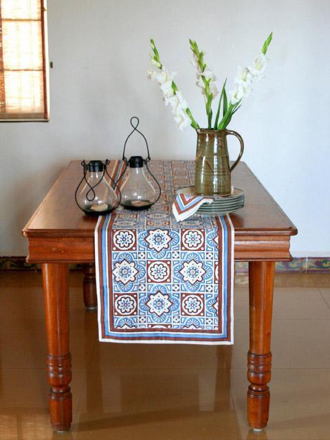 Ocean Breezes Decorative Blue Brown Dining Table Runner