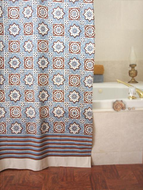 Blue Shower Curtain, Moroccan Shower Curtain, Beach Shower Curtain ...