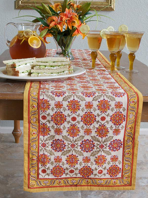 Orange And Yellow Table Runner Mediterranean Runner