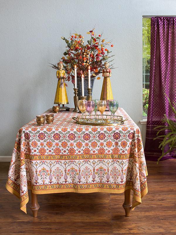 Orange Floral Tablecloth Cotton Vintage White Persian